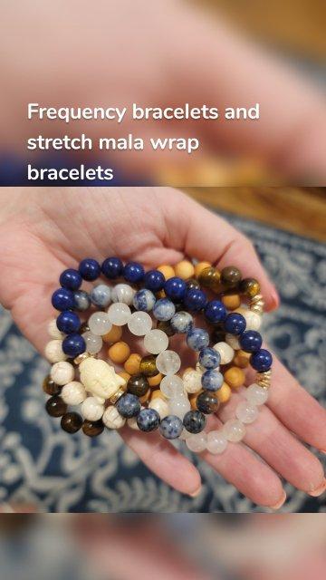 Frequency bracelets and stretch mala wrap bracelets